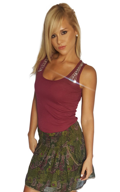 98% Cotton, Sequin Shoulder Tank Top. Burgundy .  (E-145)