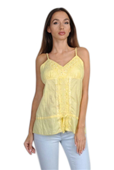 100% Cotton Yellow Boho Spaghetti Top.  (B-124)