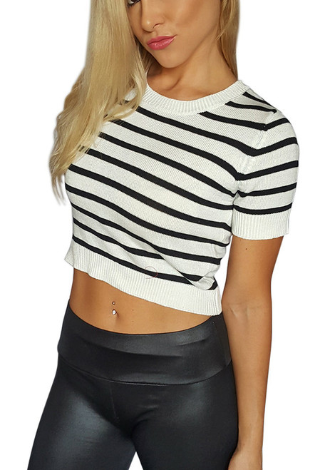 Black & White Striped Short Sleeve CropTop  (D-70)