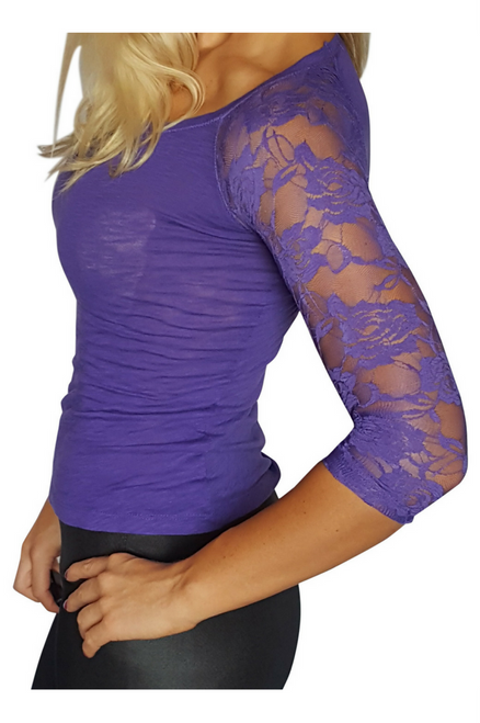JUNIOR FIT 100% Cotton Top Lace Sleeves Purple (A-80)