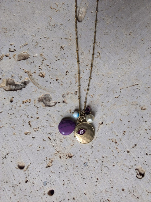 Necklace & Earring Set. Medallion, Pearl & Evil Eye. Gold Chain and Purple.  (G-68)