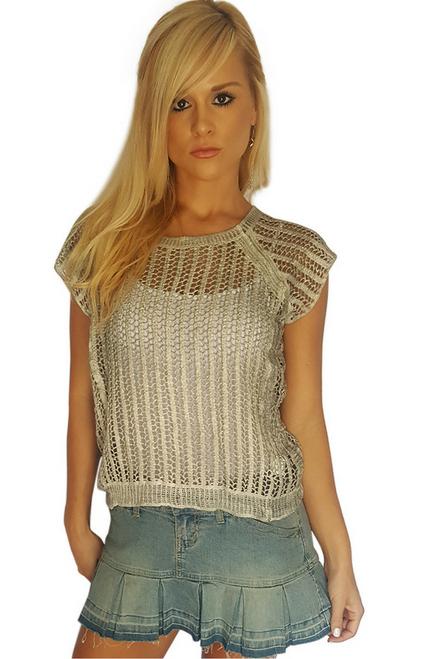100% Cotton! Boutique Crochet Top! Color: Smoke.  (A-137)