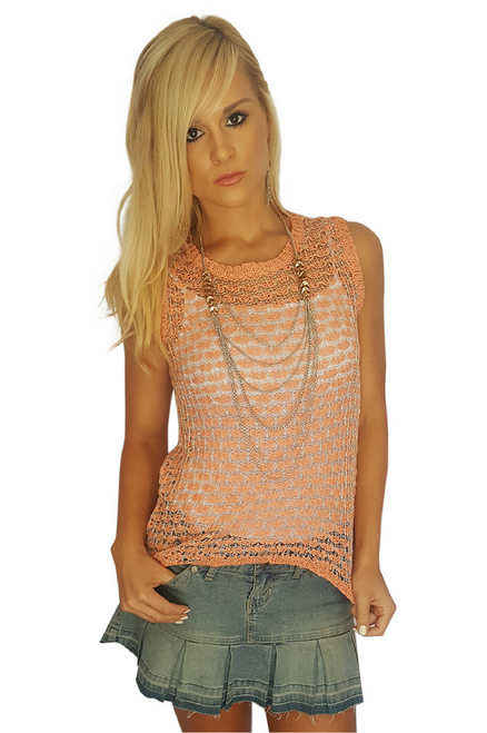 Crochet Top in Peach with Silver Threading. (B-32)