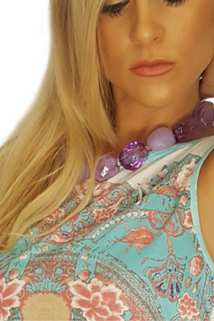 Costume Necklace of Chunky Purple Stones.  (G-72)