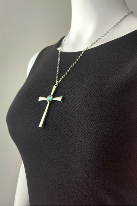 Vintage Cross with Faux Diamond. Color: Silver.  (G-106)