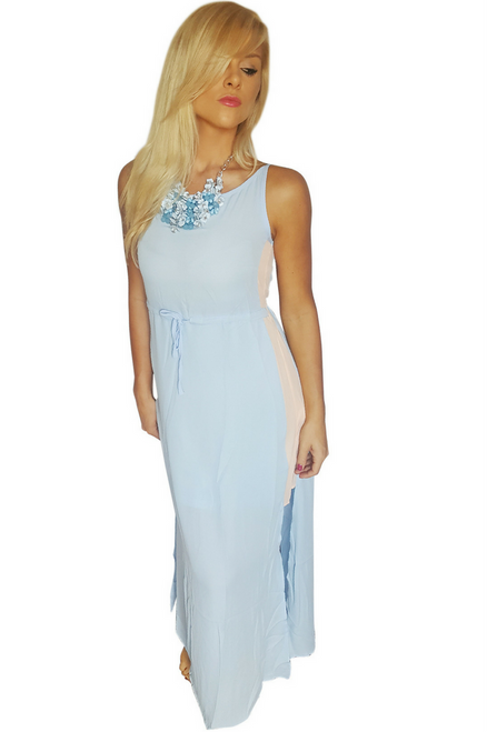 Maxi Long Dress with Banded Midsection that Ties.  (C-151)