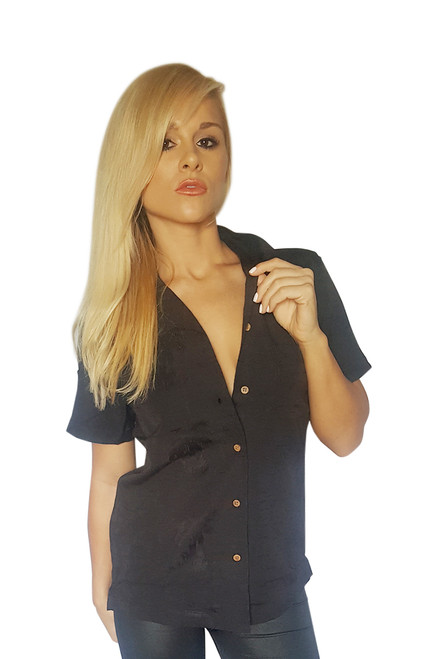 Expensive Boutique Cabana Shirt! Solid Black.  (C-66)
