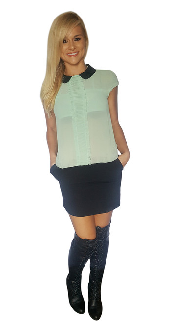 Mint Dress with Black 'Leather' Peter Pan Collar & Keyhole Back!  (C-122)