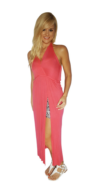 Maxi Dress with Slit Side and Zebra Print Lining! Coral.  (C-110)