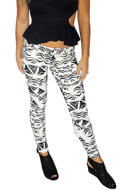 Skinny Jeans | Stretch | Black and Black Tribal  (D-172)