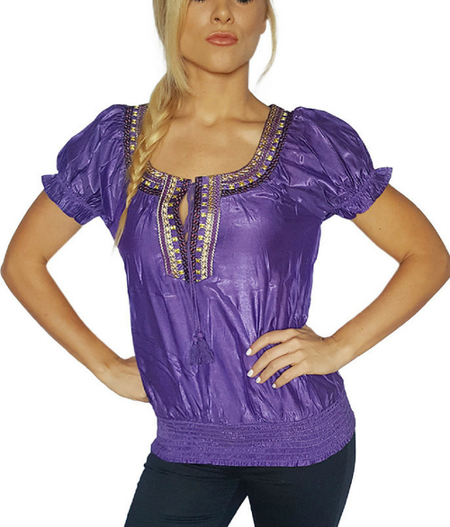 Boho-Chic | Embroidered | Purple Peasant Top | 72% Rayon  (C-84)