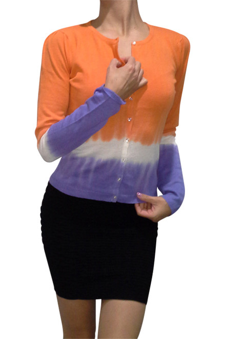 Cotton and Natural Fiber Cardigan!  Orange with Gradient Tie Dye.  (A-202)