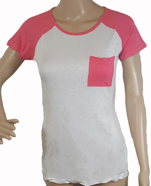 95% Rayon | Short Sleeve Top | Cutout Slit Sides | White, Coral Pink (F-56)
