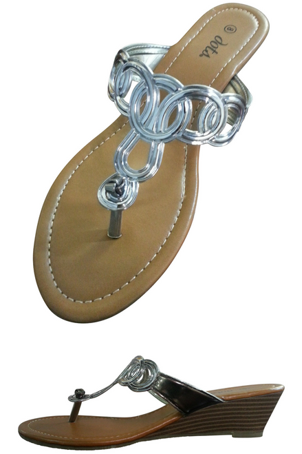 Silver, Metallic Wedge Sandal from DOTS! (L-9)