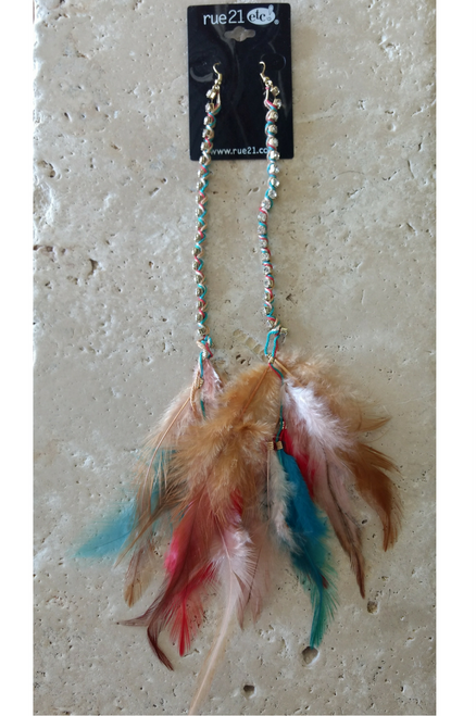 RUE 21 Boho Chic Feather Earrings. Tuquoise.  (G-53)