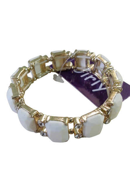 Trendy Stretch Bracelet | Color: Gold with White