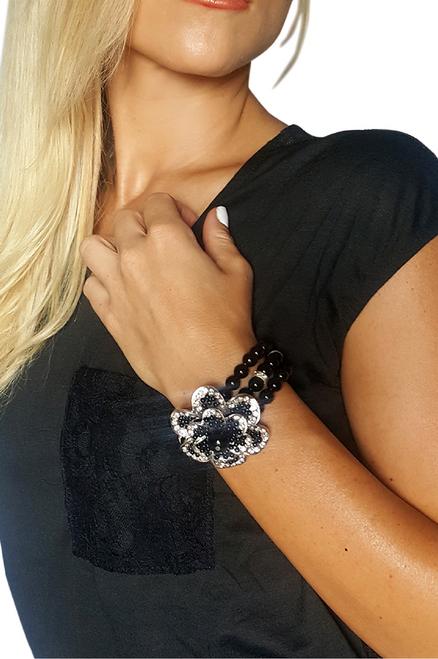 Black Stretch Bracelet | Flower and Pearls  (G-6)
