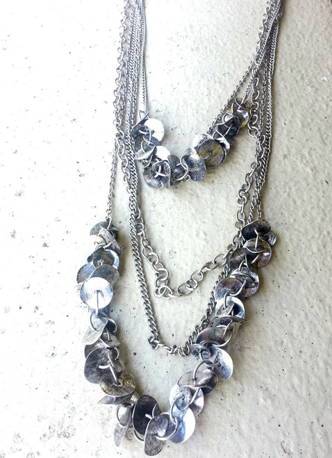 BOHO, INDUSTRIAL DISTRESSED METAL! NECKLACE & EARRINGS SET!  (G-79)