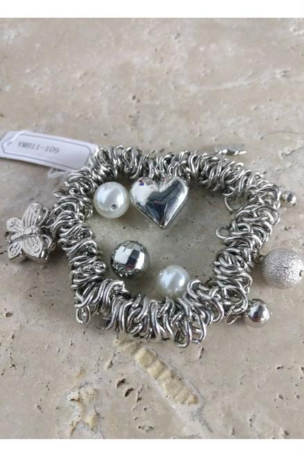 Stretch Charm Bracelet in Heavy Metal. Heart, Leaf, Butterfly, Pearls.