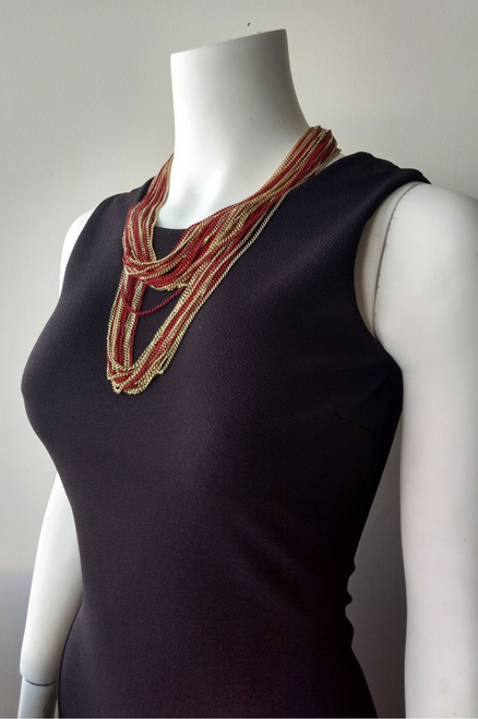 Necklace Set is Heavy Chain in Red/Gold.  (G-77)