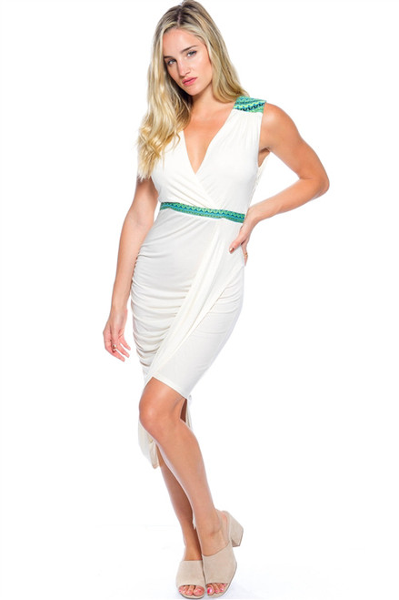 81512d12d2 Long Ivory White Maxi Dress with Green Tribal Accents. (D-15 ...