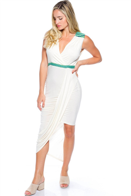 Long Ivory White Maxi Dress with Green Tribal Accents. (D-15)
