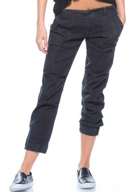 98% Cotton Capri Length Dark Gray Denim Cargo Pants. (E-102)