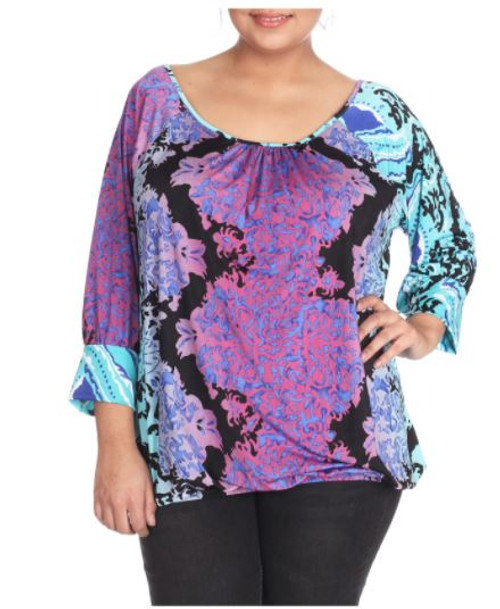 Plus Size Fall Peasant Tie Top in Turquoise Green and Purple. (B-142)