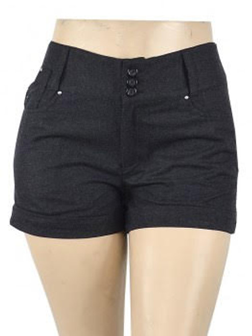 Plus Size Dark Charcoal Twill Shorts! 30% Wool. (C-86)