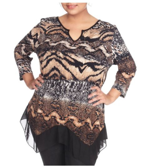 Plus Size V-Neck Top in Brown Snake Pattern with Sheer Lace Trim. (C-81)
