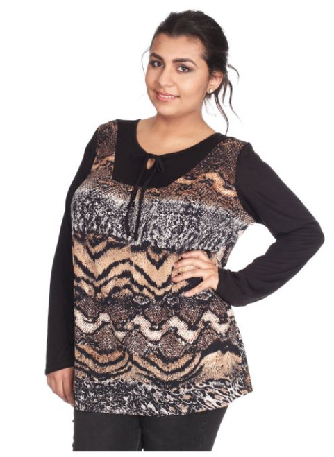 Plus Size Top with Peasant Tie Neck Top. Brown Snake Pattern.  (B-60)