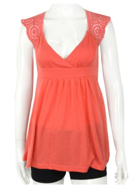 Coral Boho-Chic Sleeveless Top with Crochet Back.  (B-4)