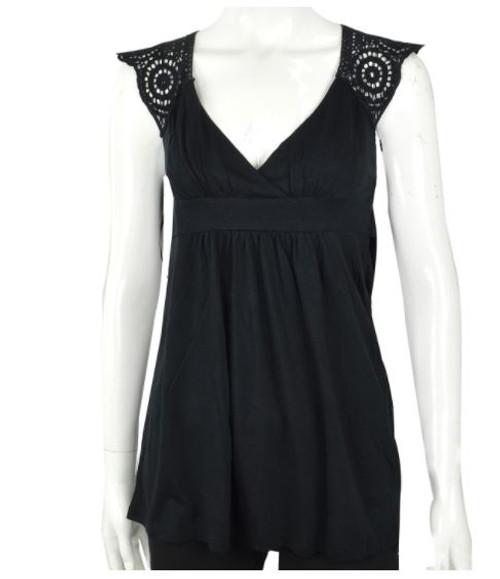 Solid Black Boho-Chic Sleeveless Top with Crochet Back. (B-6)