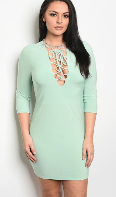 Plus Size Bodycon Dress 3/4 Sleeves Lace Up Mint Green (17-6) 0 star rating  Write a review