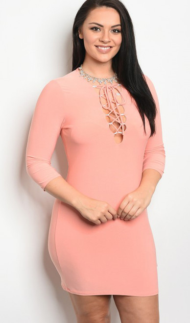 Plus Size Trendy Bodycon Dress 3/4 Sleeves & Plunging Neckline Lace Up Detail Peach (17-15)