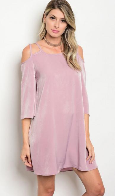 Silky Light Lavender Cold Shoulder Midi Maxi Dress w/Spaghetti Straps (17-21)