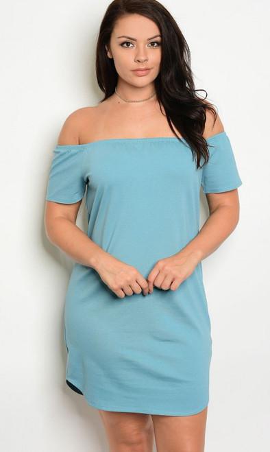 Plus Size Off The Shoulder Indigo Blue Midi Dress  (17-22)