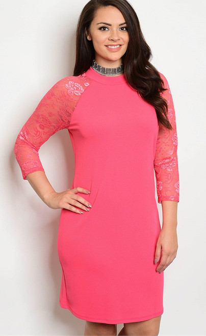 Plus Size Bodycon Fit Features Lace 3/4 Sleeves Coral Dress. (17-37)