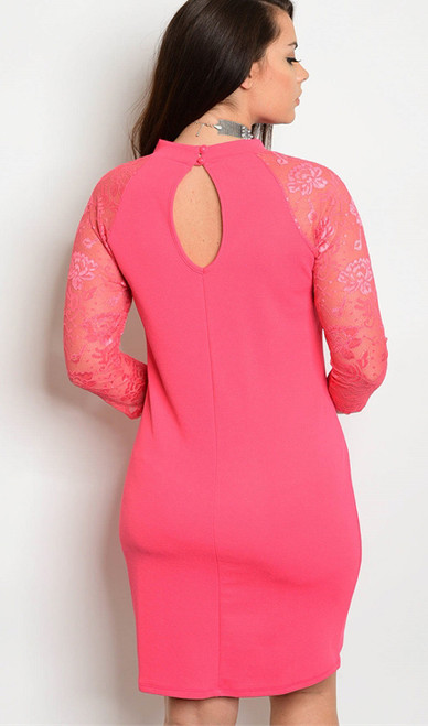 f11eb17c55c0 Plus Size Bodycon Fit Features Lace 3/4 Sleeves Coral Dress. (17-37 ...