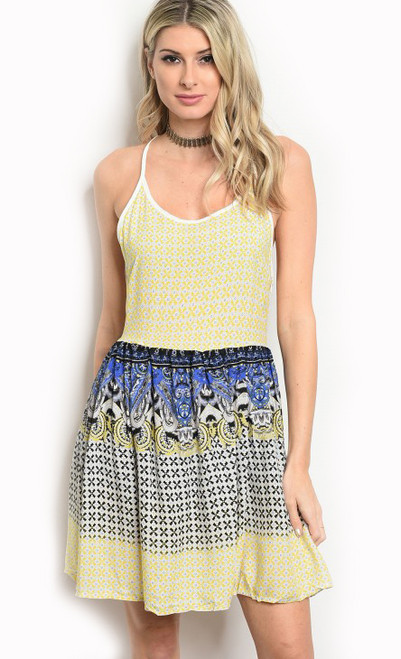 Spaghetti Strap Smock Waist White & Yellow Multi Color Dress (17-61)