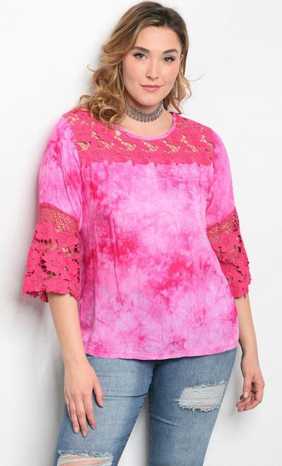 Plus size 3/4 Sleeve Tie Dye Fuchsia Top Features Lace Details  (17-83)