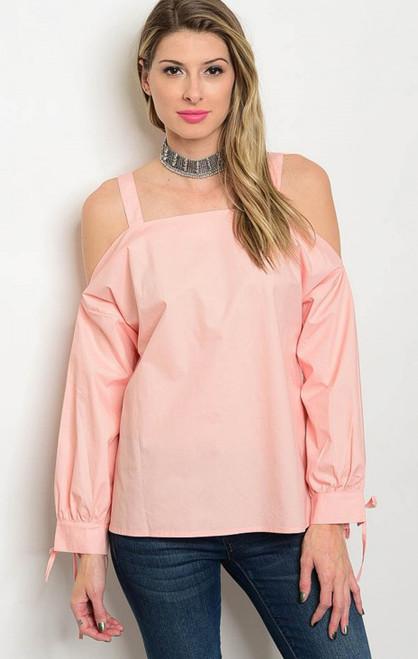Cold Shoulder Poplin Long Sleeve Peach Top  (17-89)