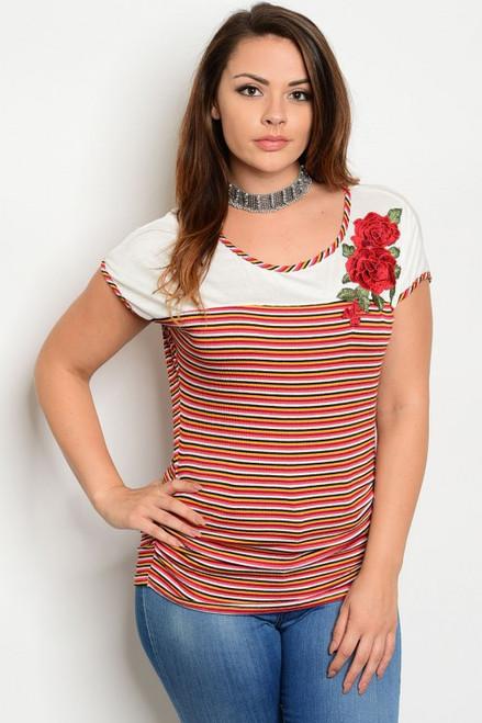 Plus Size Multi Color & Coral Strip Top Features Rose Applique  (17-94)