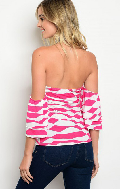 f408bba070 Strapless Off The Shoulder Strip Fuchsia and White Top (17-100 ...