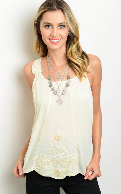 Sleeveless Relaxed Fit Top features Design Applique Cream Top  (17-128)
