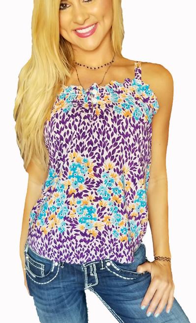 Major Brand 100% Rayon Sleeveless Button Accent Purple/Orange Flower Top (H-2)