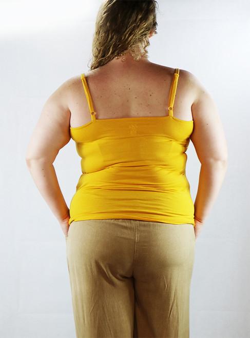 Plus Size Adjustable Strap Yellow Tank Top w/Lace trim (H-3)