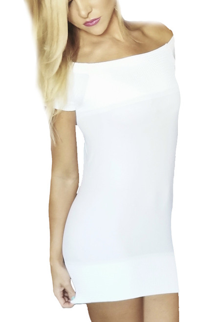 Cap Sleeve One Size Bodycon Fitted Stretch White Dress (H-13)