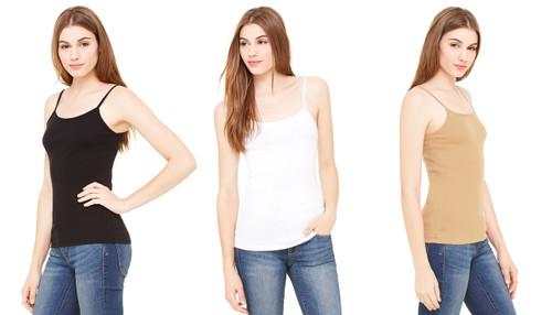 95% Cotton The Essential Spaghetti Strap Tank Nude Top  (H-27)