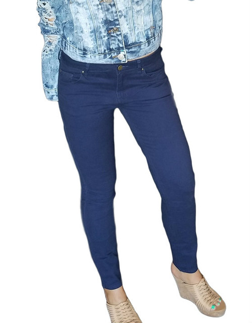 Cotton Skinny Pants Features 4 Pockets Navy Blue (H-42)